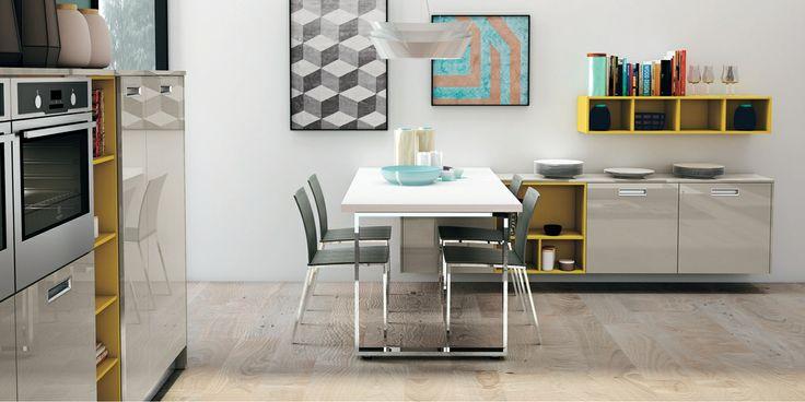 Lo stile urbano e contemporaneo di Zoe by #CREO si declina anche in un living pratico. #kitchens #living #home #cucina #soggiorno