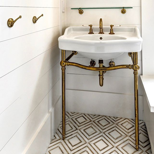 POWDER ROOM |  @robynhoganhomedesign | Shiplap Walls and Ceiling, Marble Mosaic Floors, Unlacquered Brass Waterworks Fixtures.