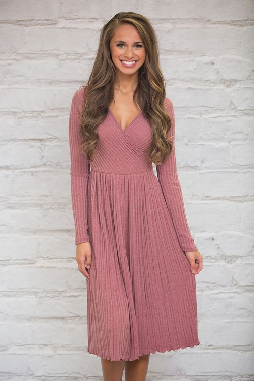 This beautiful dusty rose dress will have you looking lovely at any occasion!