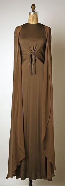 Brown rayon and silk evening dress, by Bill Blass, American, 1974.