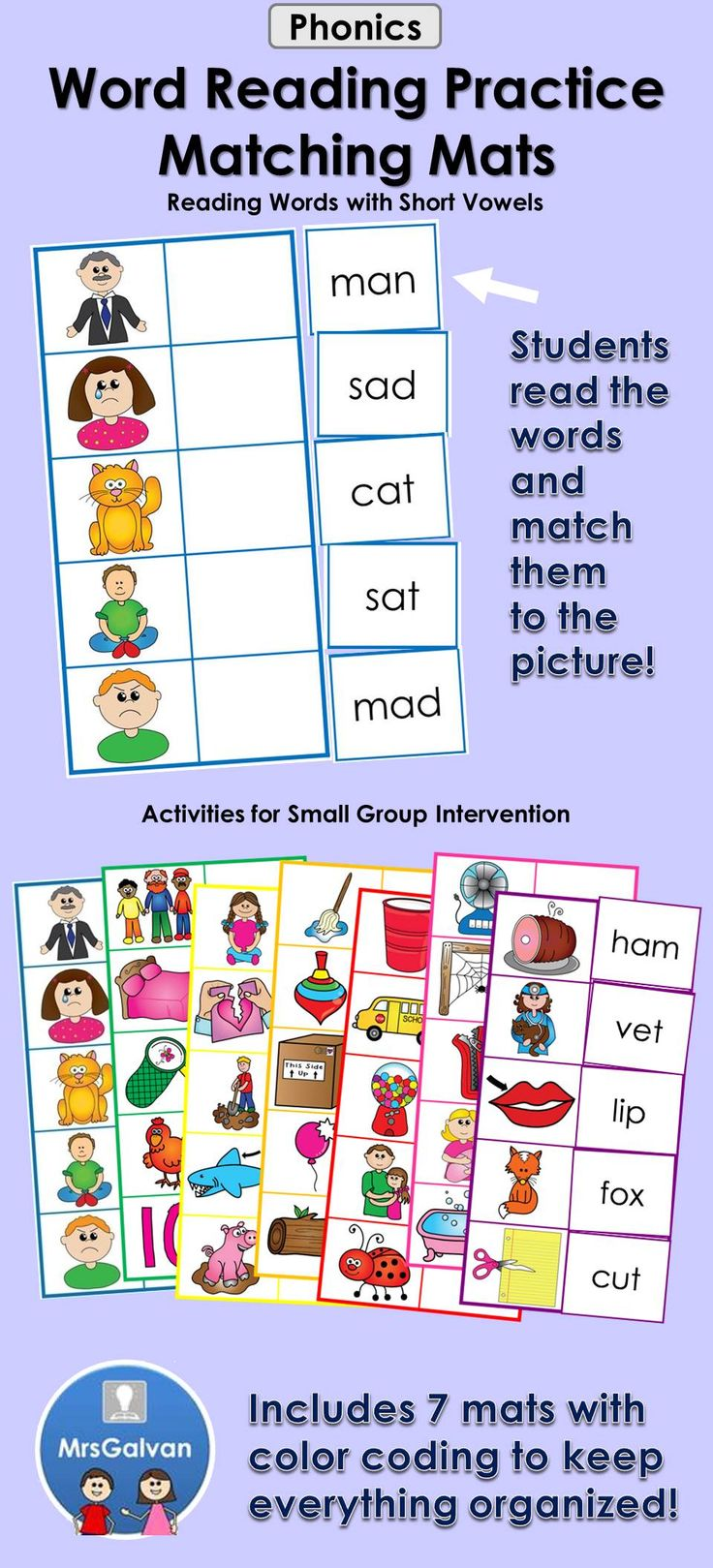 Word Reading practice for Kindergarten students taking the End of Year TPRI assessment in Texas - A fun way for children to practice reading words with short vowels. There is one mat that focuses on each of the 5 short vowel sounds. There are also two additional mats for mixed practice. Color coding on each mat helps cards stay organized. One page equals one new literacy activity. This is an instant independent literacy center activity.