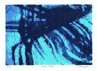 """This screenprint """"Deep Flow"""" was created in May 2012. The print consists of 5 layers and is in an edition of 12 prints."""