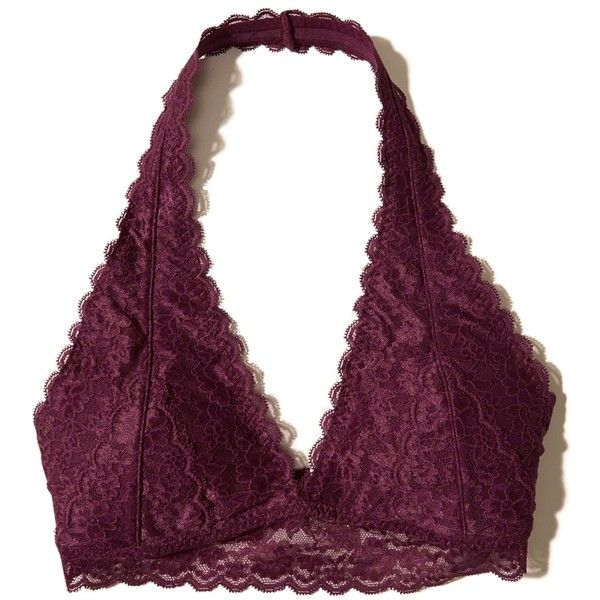 Hollister Removable-Pads Lace Halter Bralette (53 BRL) ❤ liked on Polyvore featuring intimates, bras, bra, tops, bralette, lingerie, underwear, burgundy lace, halter bra and halter neck bra