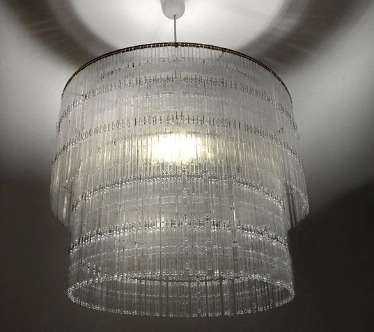 """Chandelier is made out of hundreds of plastic coffee stirrers (appropriately named """"Spoon""""): Studios, Lights Fixtures, Chandeliers, Plastic Spoons, Stirrers Chand, Spoons Lamps, Coff Stirrers, Lights Ideas, Spoons Chand"""