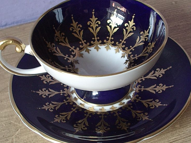 Spotlight on AYNSLEY Fine China. Antique Aynsley blue and gold tea cup set. Follow rickysturn/fine-china