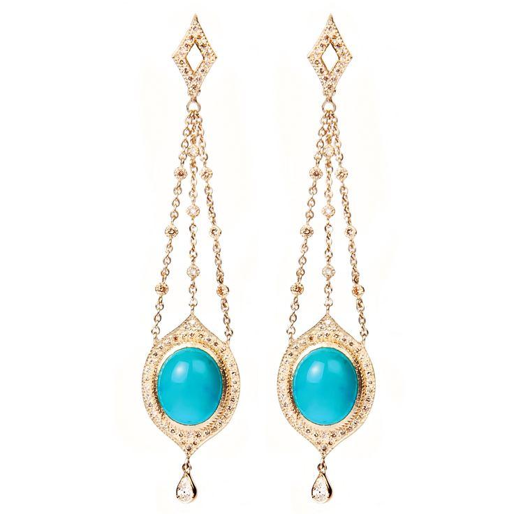 Earrings 525 | Turquoise / Diamond / Yellow Gold