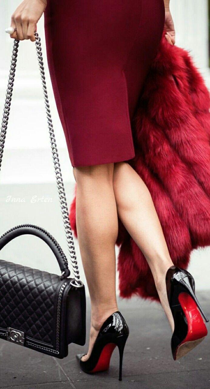 Chanel and Christian Louboutin via Inna Erten♔. #streetstyle #heels