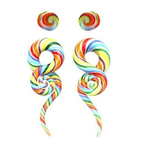 BodyJ4You Glass Gauges Kit Twisted Ear Tapers Plugs Rainbow Swirl 4G 5mm Piercing Jewelry