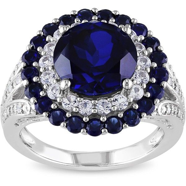 Miadora Silver Created Blue and White Sapphire and Diamond Accent Ring (355 BRL) ❤ liked on Polyvore featuring jewelry, rings, white, wide band rings, band rings, pave band ring, silver rings and cocktail rings