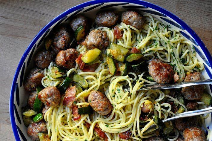 Jamie Oliver Zucchini and Sausage Spaghetti Carbonara