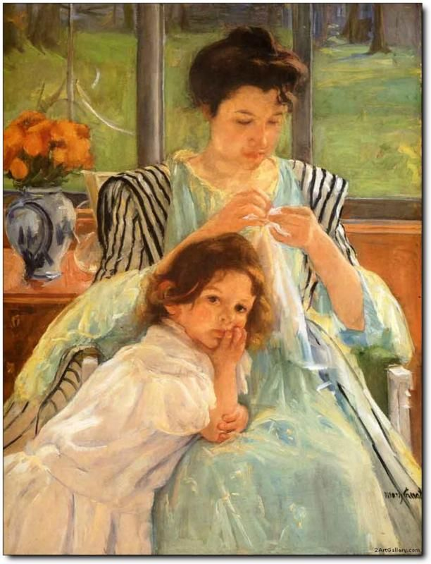 Young Mother Sewing by Mary Cassatt. A great American for sure, one of our most prolific painters of all time...