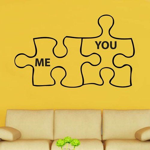 East Urban Home Me You Duo Jigsaw Decal Vinyl Wall Sticker Vinyl Wall Stickers Wall Stickers Flower Wall Stickers