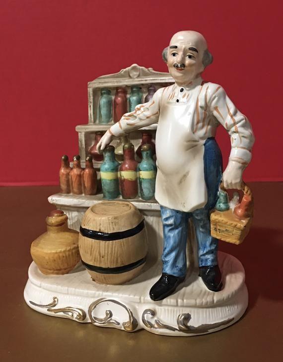 Rare Vintage Ceramic Old Man With Wine Figurine Etsy In 2020 Vintage Ceramic Vintage Pretty Cats