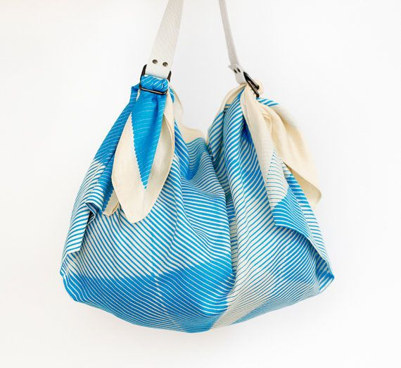 Folded paper furoshiki bag blue & white by TheLinkCollective