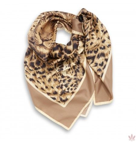 Leopard Dreams Camel Square Scarf. Luxury high quality made in Italy by Fulards.com free shipping.
