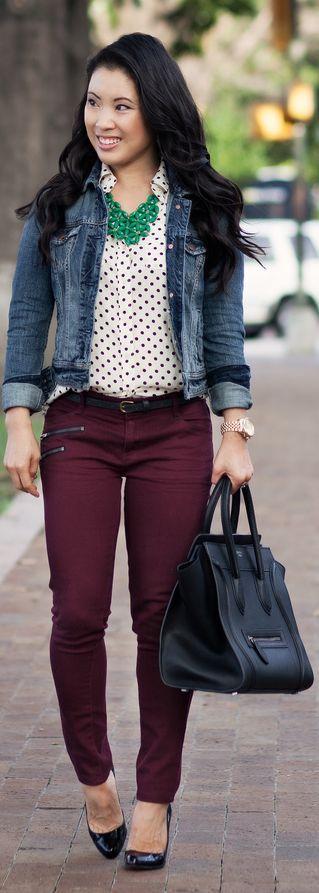Polka dots, green statement necklace, Maroon pants, blue jean jacket