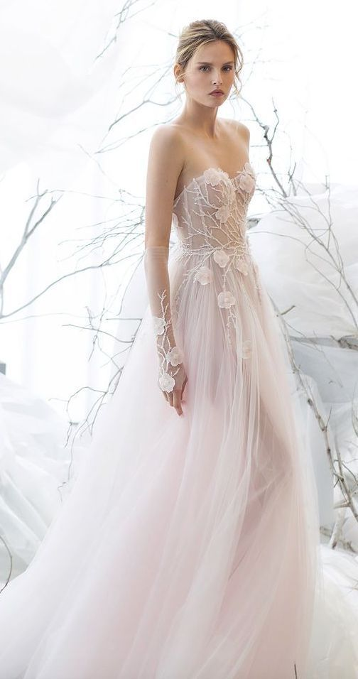 Stunning branch and floral embroidered bodice blush ballgown wedding dress; Featured Dress: Mira Zwillinger