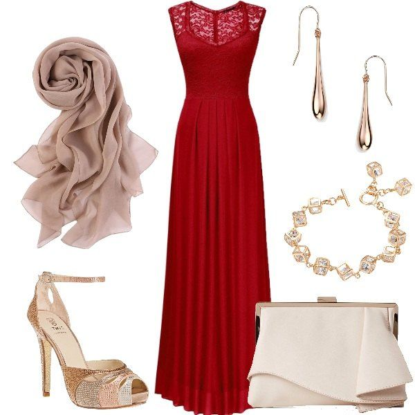 Outfit ispirato per una cerimonia di giorno che necessita di un abito lungo. Quello in questione è rosso ed è abbellito da del magnifico pizzo. L'abito viene poi avvolto da una stola di seta color taupe, mentre le scarpe sono dei sandali alti beige tempestati di cristalli colorati. Il look si completa con una clutch beige, un paio di orecchini in oro rosa e da un bracciale placcato oro rosa e cristalli.