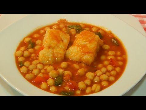 Receta de garbanzos con bacalao fácil y tradicional - YouTube