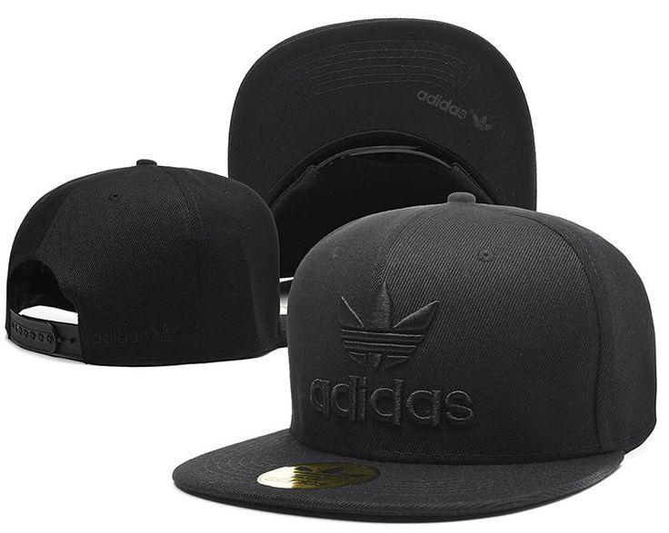 Mens Adidas Originals Thrasher Clover Logo Embroidery Front Best Quality Retro Baseball Snapback Cap - All Black