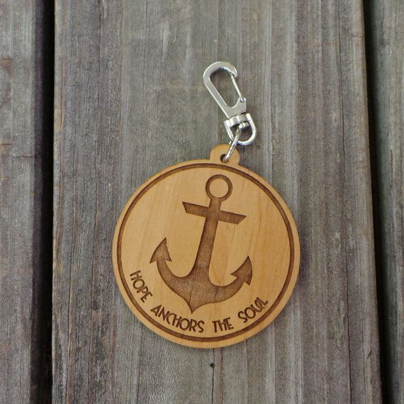 Hope Anchors The Soul  Anchor Keychain  Wooden by NeedmoreHeart