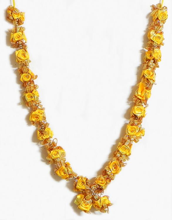 Yellow Satin Ribbon Rose Garland with Golden Sequin (Satin Ribbon))