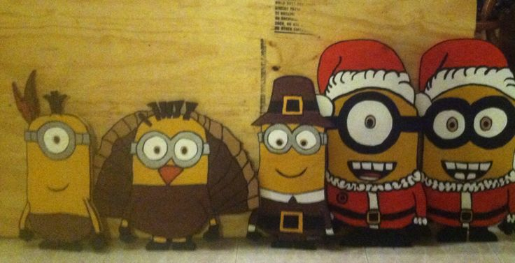 holiday wood cut out plywood yard decor yard art minions thanksgiving minions christmas minions - Minion Christmas Yard Decorations