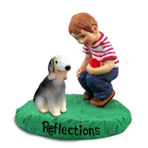 Bedlington Terrier with Boy Figurine