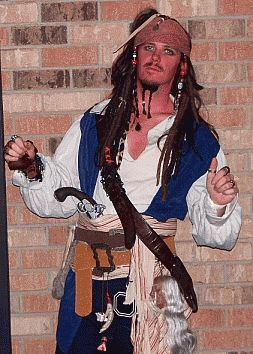 homemade pirate costumes for men | ... assembled his Jack Sparrow pirate costume from individual components