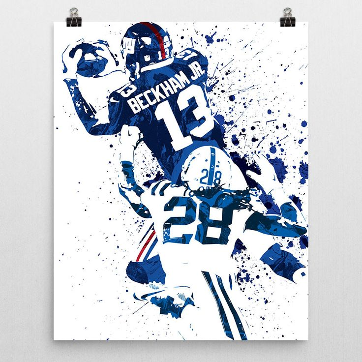 Odell Beckham Jr. poster. An American football wide receiver for the New York Giants of the National Football League (NFL). He played college football at LSU, and was drafted by the Giants in the firs