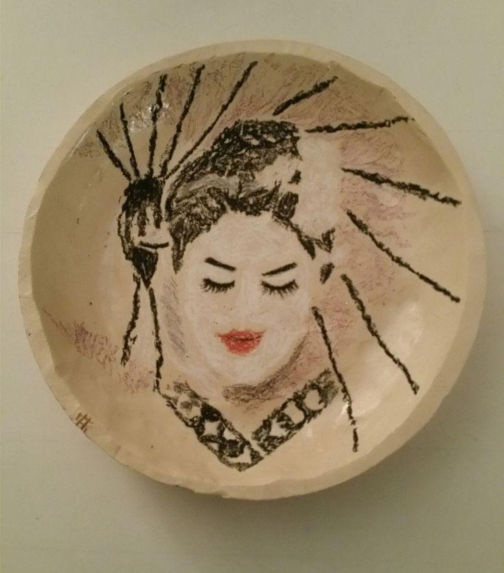 Henk Smit - Japanse vrouw - Keramiek, waskrijt en transparant glazuur