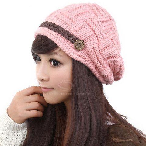 Button Embellished Knitted Woolen Yarn Warmmer Hat – teeteecee - fashion in style