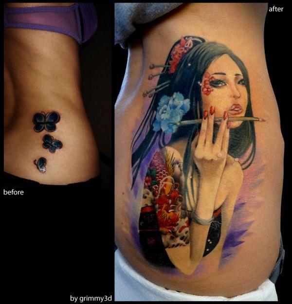 Japanese girl with Dragon tattoo - 50 Amazing Girl Tattoo Designs  <3 <3