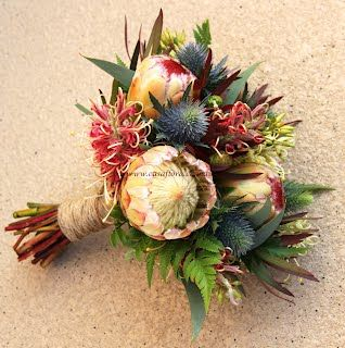 Proteas, grevillea, leucadendrons, gumnuts, seaholly and fern