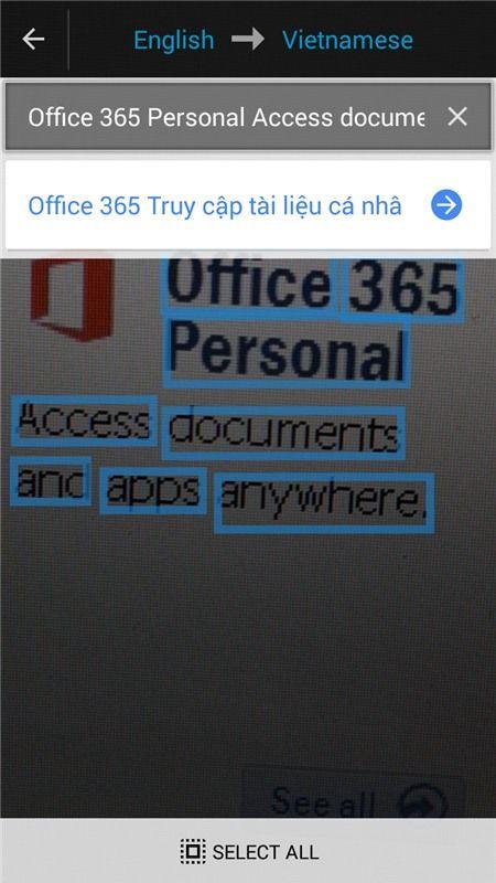 Chọn văn bản mình cần dịch từ tấm hình