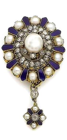 An enamel, pearl and diamond pendant/brooch/clasp, circa 1865 Centrally set with a 7.6mm pearl, within a surround of collet-set rose-cut diamonds, to a frame of similarly-cut diamonds and royal blue guilloché enamel spaced by half pearls, suspending a similarly designed detachable pendant, detachable brooch fitting, central pearl possibly a later replacement, pearls untested, length 4.7cm