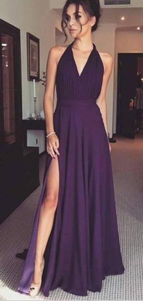 A-Line V-Neck Sleeveless Grape Chiffon Prom Dresses with Split, TYP1331