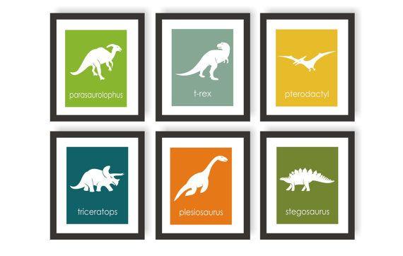 Dinosaur Wall Art dinosaur art prints - choose colors- triceratops, trex, boys