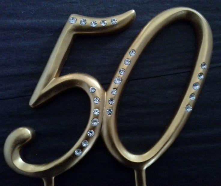 Gold Diamante 50th Birthday Cake Topper