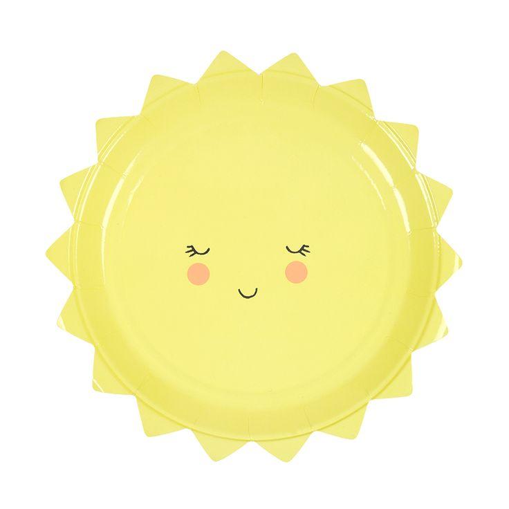 Jetzt geht die Sonne auf. Perfekte Deko für eine Geburtstagsparty. Meri Meri - Pappteller Sonne bei www.party-princess.de