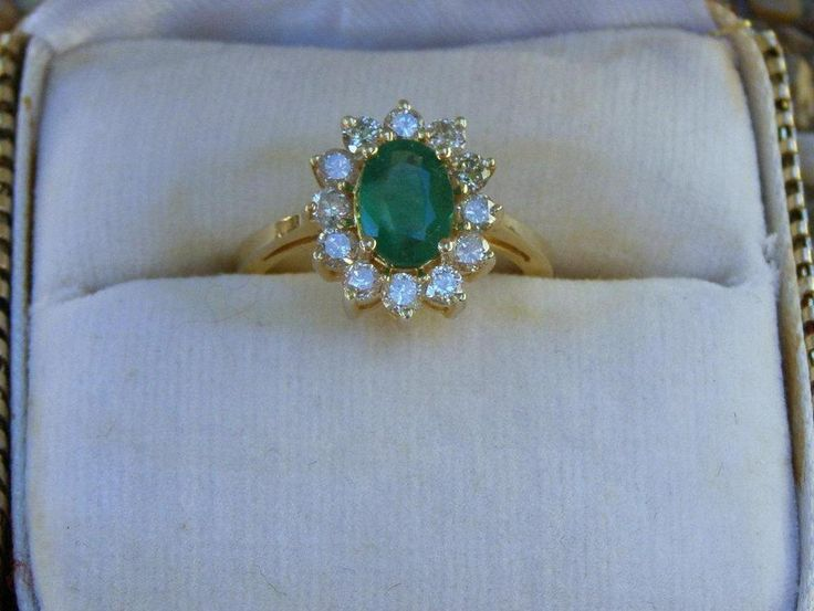 Vintage 14k Yellow Gold Emerald & Diamond Cocktail Ring with Presentation Box #LiangofHawaii #Statement