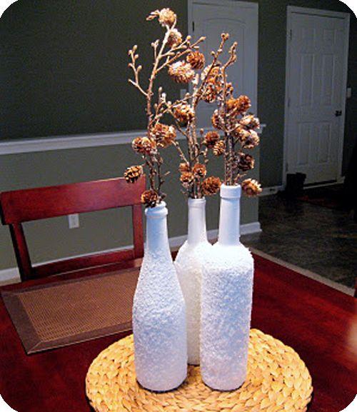 DIY Wine Bottle Decoration with Epsom Salts & paint