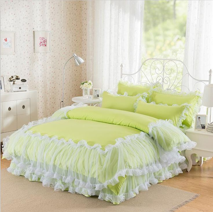 3-Pieces Solid Color Lacework Luxury Bedding Set