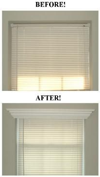 Add crown molding to the top of a window frame for a serious yet simple face lift! No link but you get the idea :)