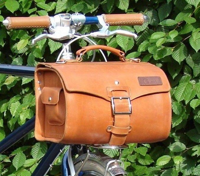 Leder Gepäckträgertasche 10 Liter hellbraun