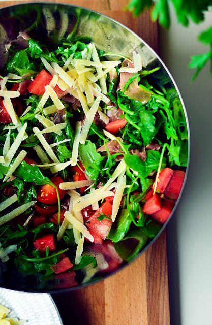 Watermelon, arugula and prosciutto salad