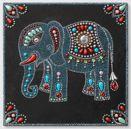 aut ntico elefante pintura original artesan a hecha a mano en el estilo tradicional de Ucrania con p Foto de archivo