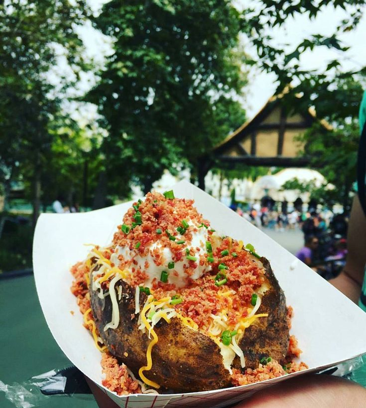 Bacon and sour cream stuffed baked potato from the Trabadour Tavern in Fantasyland near Mickey and the Magical Map. Be sure to get this early because the Trabadour Tavern closes at 4:30. ● Price: $6.99 ● Photo: @josh.mauro Use #FoodsofDisneyland for a chance to have your photo featured!