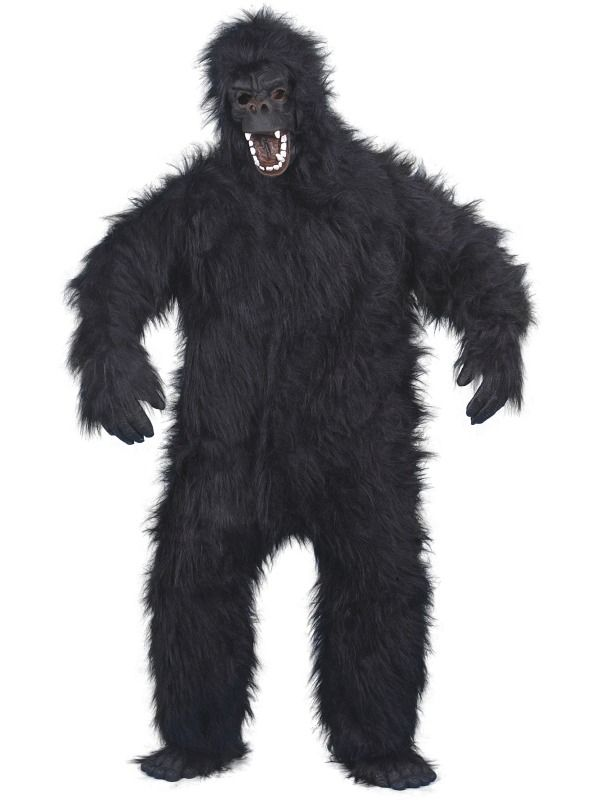 Gorilla Deluxe. Naamiaisasun kasvot, varpaat, sormet ja vatsa ovat taipuisaa kumia, joten joraaminenkin onnistuu notkeasti.