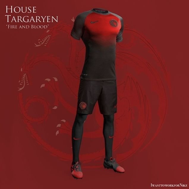 Great Game of Thrones Soccer Uniforms Prove We Need A Westeros World Cup. I don't play, but I would wear this.